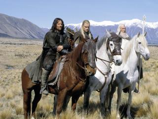 обои Всадники Арагорн,   Леголас,   Гендальф белый фото