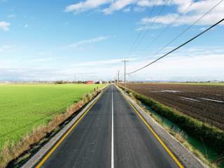 обои Дорога вдоль полей фото