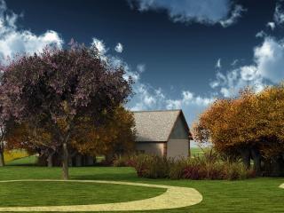 обои Лужайка перед домом фото