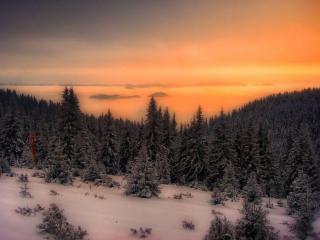 обои Зима,   сопки и закат фото