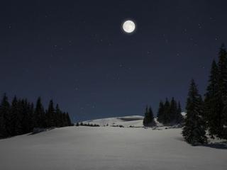 обои Зимнее,   лунное небо фото