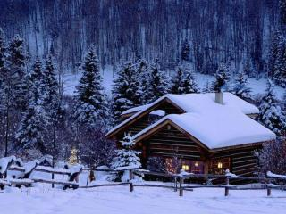 обои Зимний домик фото