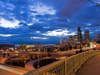 обои Вид с моста на вечерний город фото