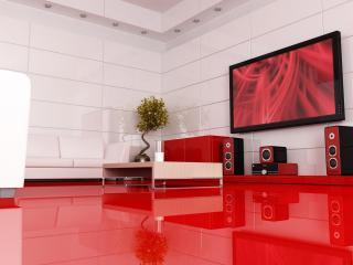 обои Домашний кинотеатр, в сочетании белых и красных цветов фото