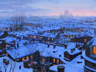 обои зима на крышах зданий вечерних фото