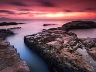 обои Красный закат над морем фото