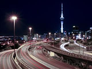 обои автодороги у города большого нoчного фото