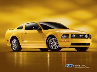 обои Ford Mustang yellow muscle car фото