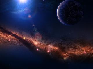 обои Гирлянды звезд в темном космосе фото