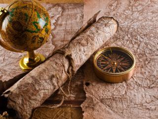 обои для рабочего стола: Карты,   глoбус и компас