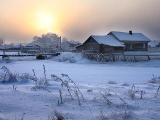 обои Морозное утро в деревне фото