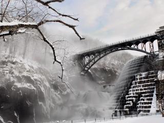 обои Высокий мост в зимний день фото