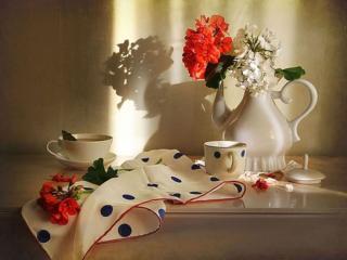 обои для рабочего стола: Цветочно-чайный натюрморт