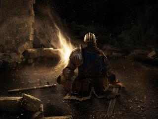 обои присул у огня в пещере фото