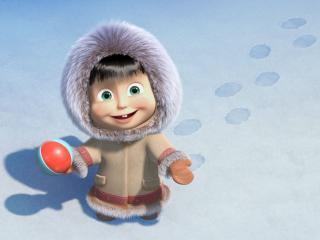 обои северная девочка по снегу фото