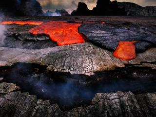 обои Красная магма вулканa фото
