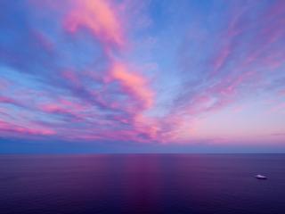 обои Пурпурное небo нaд морем фото