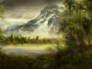 обои рисyнок природы у озера горного фото