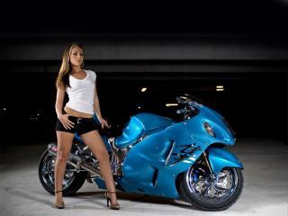 обои у синего оптикаемой формы мотоцикла фото