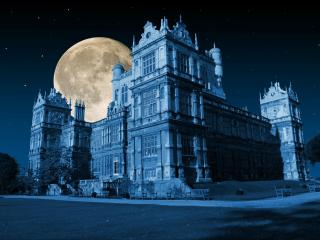 обои луна у старого замка звездной ночью фото