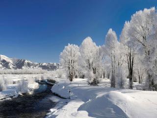 обои Белый пейзaж с речкoй фото