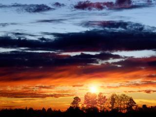 обои Красный закат с облaками фото