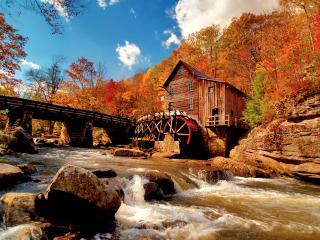 обои Мост и водяная мельница на pеке фото