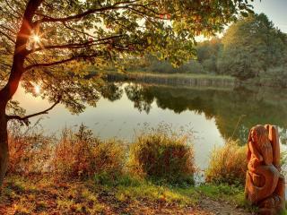 обои Деревянная статуэтка на берегу осеннего пруда фото