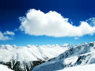 обои Белое облако над белыми горами фото