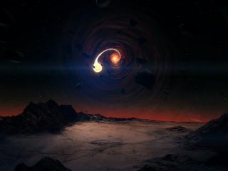 обои над планетой космический вихрь и камни фото