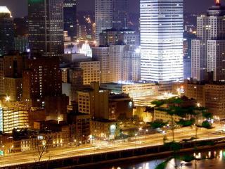 обои вечерний плотно застроенный город фото