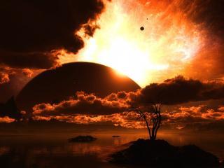 обои загадочный пейзаж неба у воды фото