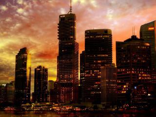 обои краски неба и огоньки зданий фото