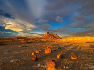обои Пустыня в свете заходящего солнцa фото