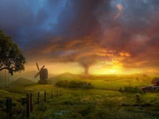обои Красивый пейзаж и ураган вдали фото