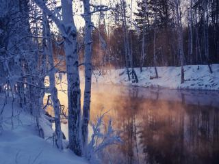 обои Туман зимой от незамерзшей peки фото