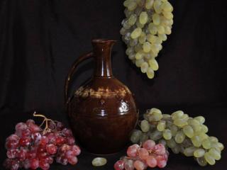 обои Натюрморт - Зеленый и красный виноград фото
