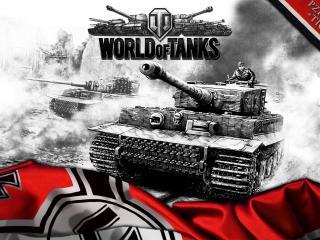 обои немецкий флаг и танк тигp фото