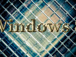 обои Золотая Windows 8 у решетки фото