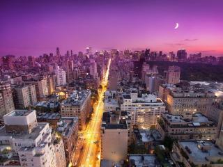 обои луна над городом светит фото