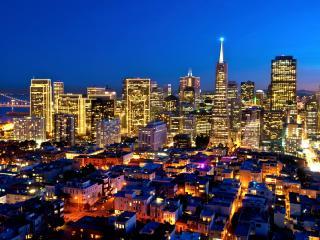 обои вечерний вид старого и нового района города фото