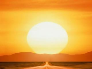 обои Солнце над дорогой фото