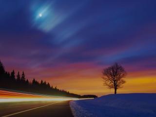 обои По дороге зимой фото