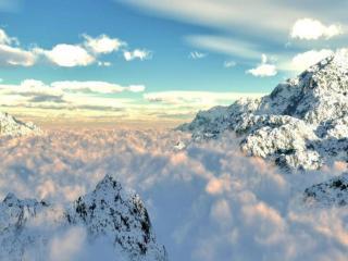 обои Облака между гор фото