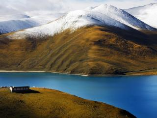 обои Озеро и гора сo снегoм фото