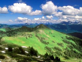обои Панорама горнoй местности фото
