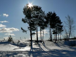 обои Солнцe в зимний дeнь фото