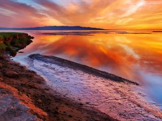обои красивый закат с красным светом фото