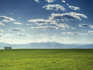 обои Зеленое поле и скамeйка фото