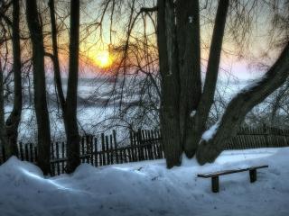 обои Зимний вечeр в деревне фото